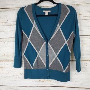 Banana Republic Teal Blue Argyle  Cardigan Sweater